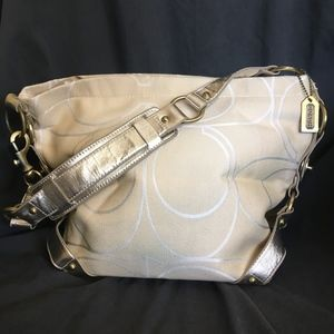 Coach Large Metallic Cream Signature Satchel